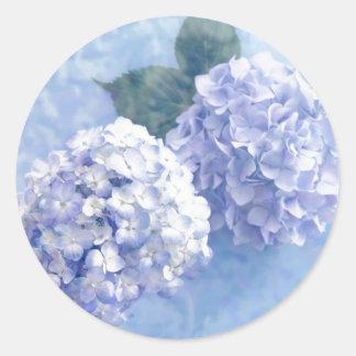 Adesivo Redondo Flores do Etiqueta-Hydrangea
