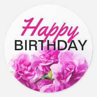 Adesivo Redondo Flores do rosa do feliz aniversario no fundo