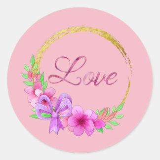 Adesivo Redondo Flores douradas da aguarela do rosa da grinalda do
