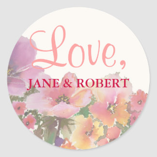 Adesivo Redondo Flores para casamentos românticas da aguarela