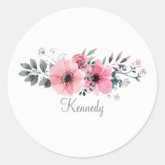 Adesivo Redondo Flores pintados mão chiques e bonitas