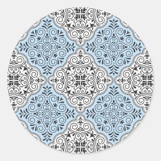 Adesivo Redondo Flourish Rococo azul do teste padrão