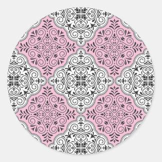 Adesivo Redondo Flourish Rococo cor-de-rosa do teste padrão