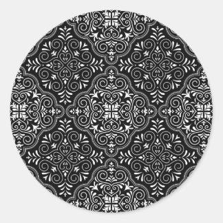 Adesivo Redondo Flourish Rococo preto do teste padrão