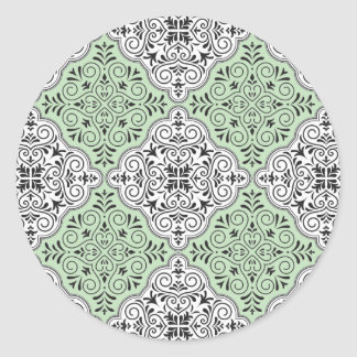 Adesivo Redondo Flourish Rococo verde do teste padrão