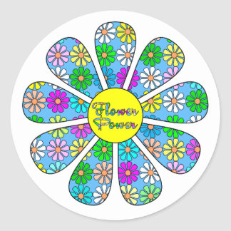 Adesivo Redondo Flower power feliz