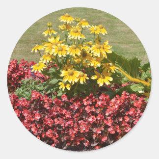 Adesivo Redondo Flowerbed dos coneflowers e das begónias