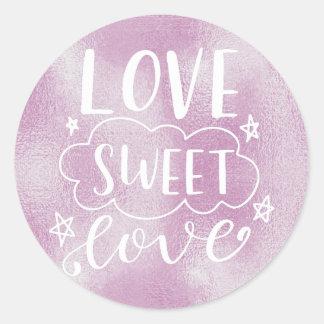 ADESIVO REDONDO FOLHA DO LILAC DE LOVE-SWEET-LOVE