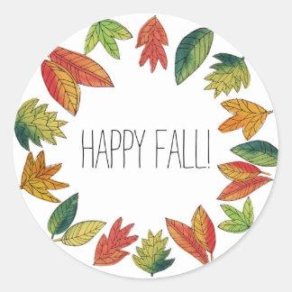 Adesivo Redondo Folhagem de outono feliz