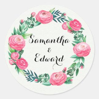 Adesivo Redondo Folhas florais da aguarela dos rosas