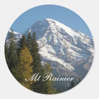 Adesivo Redondo Foto da opinião do Monte Rainier