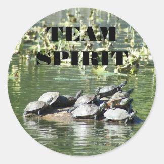 Adesivo Redondo Foto da tartaruga do espírito de equipe inspirador