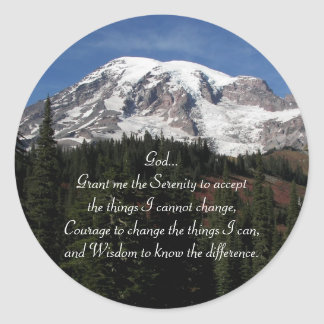 Adesivo Redondo Foto do Monte Rainier da oração da serenidade