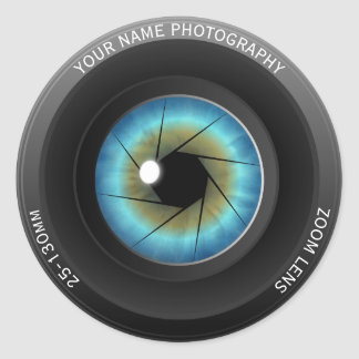 Adesivo Redondo Fotógrafo conhecido feito sob encomenda da