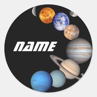 Adesivo Redondo Fotos do montagem JPL do sistema solar -