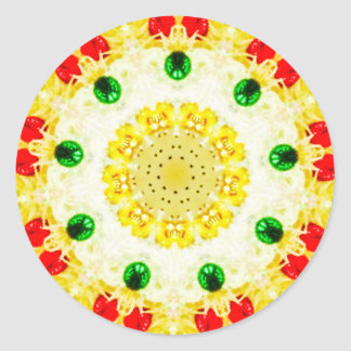 Adesivo Redondo Fractal amarelo da grinalda