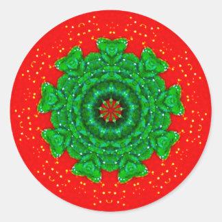 Adesivo Redondo Fractal cintilando do Natal