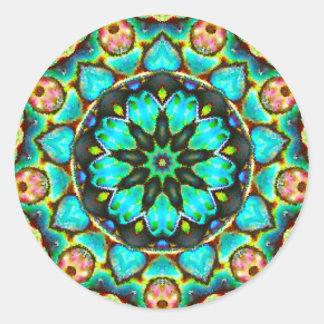Adesivo Redondo Fractal florido brilhante do Opal do mar