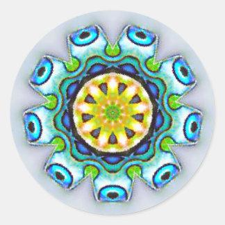 Adesivo Redondo Fractal iridescente de Paua Shell
