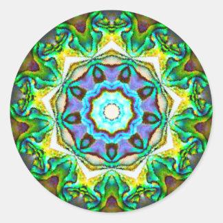 Adesivo Redondo Fractal iridescente espiritual de Paua Shell