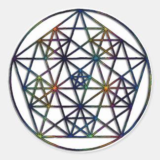 Adesivo Redondo Fractal sagrado da geometria da abundância da vida