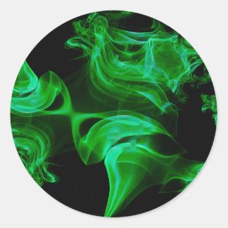 Adesivo Redondo Fractal verde do cetim
