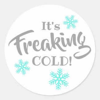 Adesivo Redondo Freaking o feriado engraçado frio