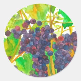 Adesivo Redondo Fruta das uvas da aguarela