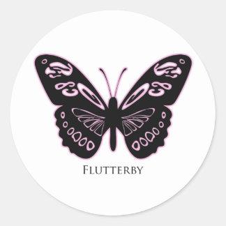 Adesivo Redondo Fulgor cor-de-rosa preto de Flutterby
