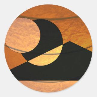 Adesivo Redondo Fulgor dos planetas, preto e cobre, design gráfico