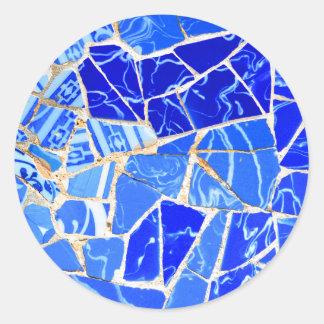 Adesivo Redondo Fundo azul abstrato