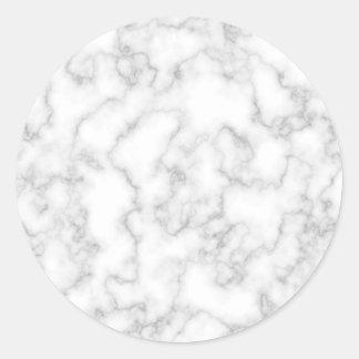 Adesivo Redondo Fundo de pedra marmoreado de mármore do branco
