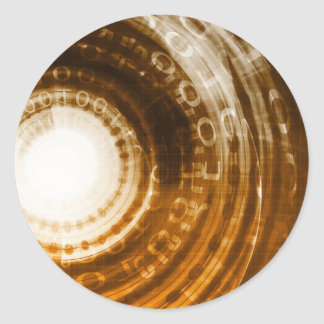Adesivo Redondo Fundo do abstrato dos dados binários para Digitas