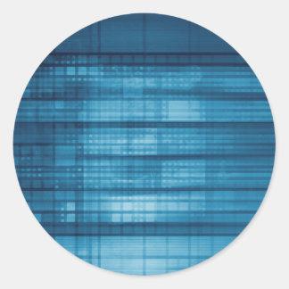 Adesivo Redondo Fundo do mosaico da tecnologia como uma arte do