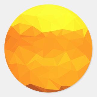 Adesivo Redondo Fundo do polígono do abstrato do amarelo do Cyber