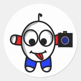 Adesivo Redondo gajo engraçado da câmera
