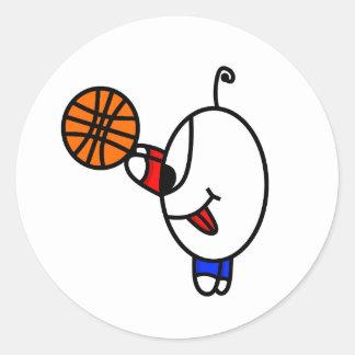 Adesivo Redondo Gajo engraçado do basquetebol