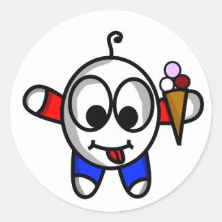 Adesivo Redondo gajo engraçado do sorvete
