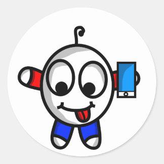 Adesivo Redondo gajo engraçado do telefone