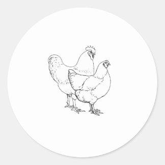 Adesivo Redondo Galinhas da raça da herança - galo e galinha