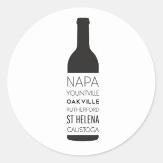 Adesivo Redondo Garrafa de vinho das cidades de Napa Valley