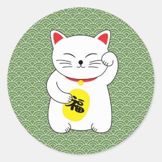 Adesivo Redondo Gato afortunado de Maneki Neko