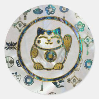 Adesivo Redondo Gato afortunado de Maneki Neko na pérola e no olmo