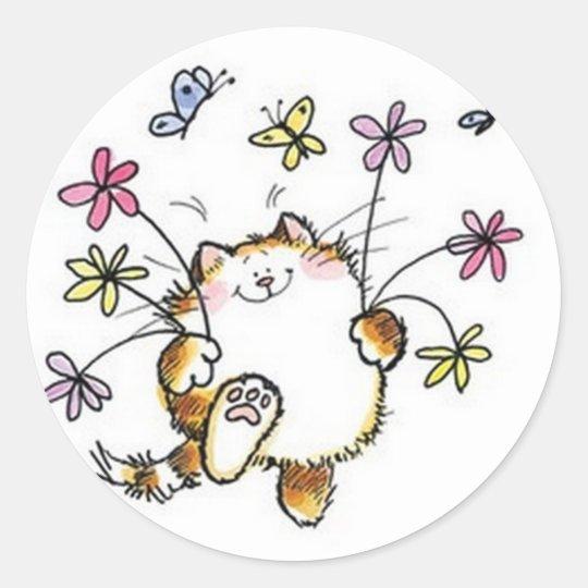 Adesivo Redondo Gato com flores