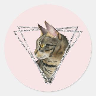 Adesivo Redondo Gato de gato malhado com quadro do brilho da prata