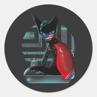 Adesivo Redondo Gato de Ninja do Cyberpunk