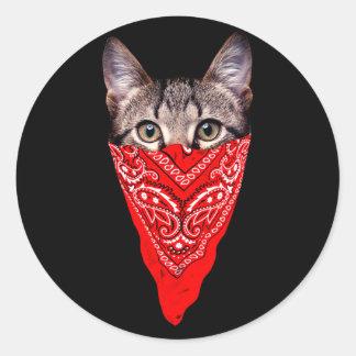 Adesivo Redondo gato do gângster - gato do bandana - grupo do gato