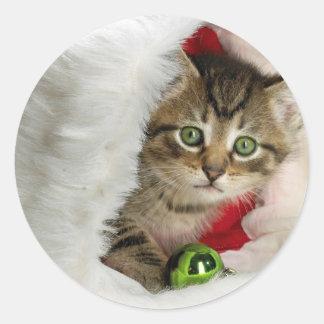 Adesivo Redondo Gato do Natal - gato do gatinho - gatos bonitos