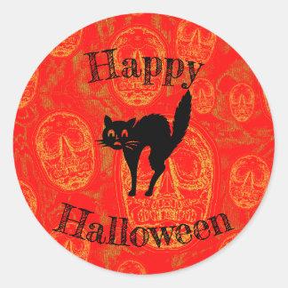 Adesivo Redondo Gato feliz do Dia das Bruxas -