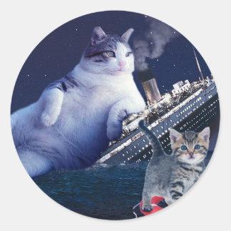 Adesivo Redondo - Gato gordo - gatos engraçados titânicos - gato